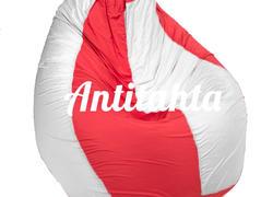 кресло мешок груша, материал Оксфорд комбинированного красного и белого цвета