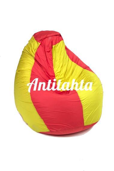 кресло мешок груша, материал Оксфорд комбинированного красного и желтого цвета