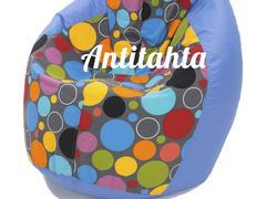 Кресло мешок груша, материал оксфорд и жаккард расцветка боро-боро подложка синяя