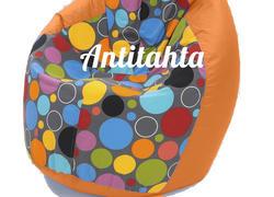 Кресло мешок груша, материал оксфорд и жаккард расцветка боро-боро подложка оранжевая
