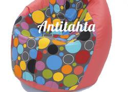 Кресло мешок груша, материал оксфорд и жаккард расцветка боро-боро подложка красная