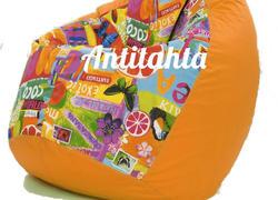 Кресло груша расцветка фруктовый коктель цвет подложки оранжевый