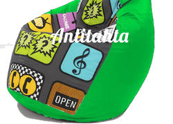 кресло мешок груша, материал оксфорд и жаккард расцветка хайп подложка зеленый