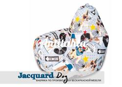 кресло груша мешок материал испанский жаккард оформление фауна собаки