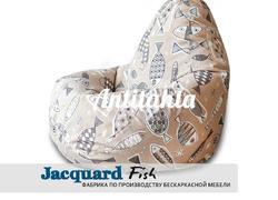 кресло груша мешок материал испанский жаккард оформление фауна рыбы