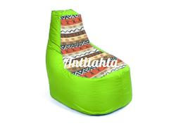 Кресло банан из материалов оксфорд и жаккард расцветка Африка  зеленого цвета